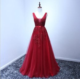 Wholesale Red Wine Tea - Robe De Soiree 2015 Wine Red Lace Beading Sexy Backless Long Evening Dresses Bride Banquet Elegant Floor-length Party Prom Dress