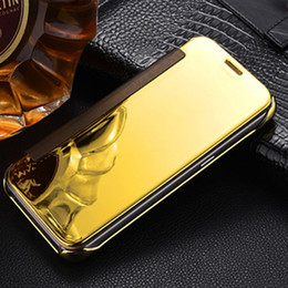 Wholesale Note Mirror Case - Smart Mirror cases For Samsung Galaxy Note 7 S7 S6 Edge Case Smart Protector Shell View Window Clear PC electroplated Case Filp Cover