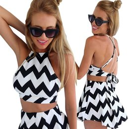Wholesale America Swimwear - PrettyBaby Europe and America zig zag stripe dress suit two piece Dress summer bodycon dress black white beach swimwear