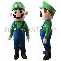 Wholesale Mario Luigi Mascot Costumes - Fancy Super Mario Mascot Costume Green Luigi Mascot Costume Adult Unisex Cartoon Mascot R0004