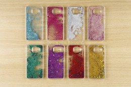 Wholesale Star Galaxy S3 - For Samsung Galaxy S3 S4 S5 S6 S7 s8 Edge Dynamic Liquid Bling Stars Quicksand Glitter Case For Samsung Note 2 3 4 5 A3 A5 A7 J5 J7