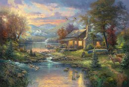 Dipinti ad olio ritratti online-The Giclee Art Canvas Paintings Oil The Thomas Kinkade Tangled christma Cuadros decoracion Ritratto di casa Poster Wall Art Stampe incorniciate