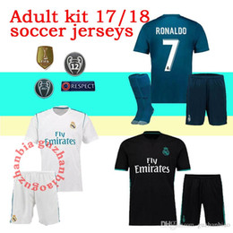 Wholesale Cotton Short Socks - 17 18 Real madrid men kit soccer jersey third blue adult kit with sock RONALDO ASENSIO BALE RAMOS BENZEMA 2017 2018 new football shirtS set