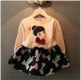 Wholesale Girls Double Breasted Suit Kids - Lovely Girls 2016 New Spring Long Sleeve Sweater+Bowknot Printed Skirts 2pcs Sets Kids Outfits Baby Girl Clothes Children Casual Suits