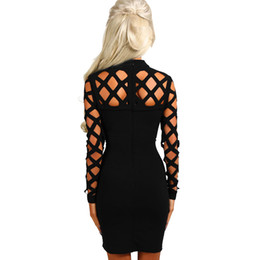 Wholesale Wholesale Factory Dresses - Wholesale- 2017 New Winter Women Black Red Bodycon Bandage Dress Long Sleeve Hollow Out Club America Factory Sexy Birthday Party dresses