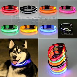 Wholesale Xs Dog Harness - Wholesale- Pet Cat Dog Glow LED Collar Flashing Light Up Nylon Night Safety Collars Supplies 8 Color XS S M L Size Dropship USPS Shipping