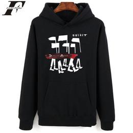 Одежда для мужчин панк онлайн-Оптово Depeche Mode Толстовки Мужчины Hip Hop Streetwear Punk Повседневная Толстовка с капюшоном Мужчины Толстовка Мода Хип-хоп Черные одежды