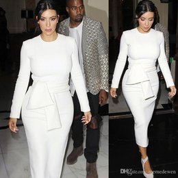 Wholesale Kardashian L - 2017 Autumn Women Elegant Dress Kim Kardashian Solid White O-Neck Work Office Business Sexy Career Stretch Bodycon Plus Size Dress XZ-14