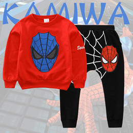 Wholesale Kids Tracksuits Wholesalers - Spiderman Baby Boys Kid SportsWear Tracksuit Outfit cartoon Suit Summer kids boys clothes longsleeve clothing set