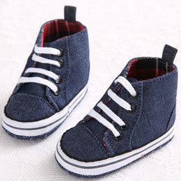 Wholesale High Top Toddler Boots - Wholesale- Spring Autumn Classic Newborn Baby First Walkers Canvas Infant Toddler Prewalker Shoes Boots Booties Boy Kids High Top Shoe