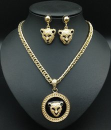 Wholesale Tiger Head Pendants - XD09 Tiger Necklace Rhinestone Head Leopard Necklaces Earring Sets Pendants Vintage Retro Long Necklace for Women Jewelry