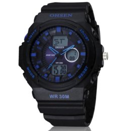 Wholesale Ohsen Military Watch - 2015 OHSEN Men Sports Military Watches Brand Fashion Casual Wristwatch Analog-Digital Watch Alarm EL Seconds BlueOH11-3 Hot Sale