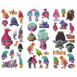 Wholesale Reward Stamps - Cartoon Stamping Stickers 21*7.5cm Kids Trolls Doll Stickers Reward Sticker Magic Video Movie Action Figures Children Stickers