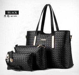 Wholesale Pip Pink - 2016 women bags new wave of female bag PIP package three-piece woven pattern Shoulder Messenger Handbag