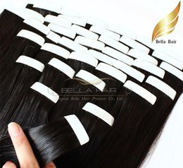 Wholesale Skin Weft Human Hair Extensions - 18~24inch natura pu Skin Weft Hair Extensions 100% Brazilian Human Hair Straight 2.5g piece 100g set Free Shipping