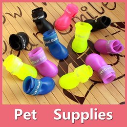 Wholesale Waterproof Dog Boots - Colorful Waterproof 4Pcs Dog Anti-Slip Candy Colors Rubber Boots Pets Rain Shoes Booties Pet Supplies 160909