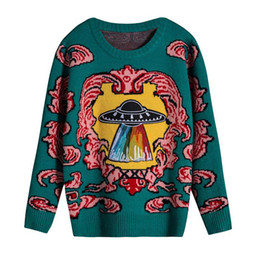 Berühmtheit kleidung stile online-2018 Runway Pullover Celebrity Style Pullover Regelmäßige Langarm Rundhalsausschnitt Grüne Mode Getäfelten Frauen Kleidung 1