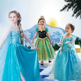 Wholesale Girls Pageant Costumes - Elsa Dress Frozen Costume Fever Inspired Green Maxi Split Elsa Dress Flower Princess Dress Kids Prom Dresses Pageant Gowns For Teens