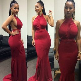 Wholesale Mermaid Dresess - Sexy Backless Red Mermaid Prom Evening Dresess 2016 Simple Halter Sleeveless Floor Length Long Formal Evening Gowns