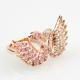 Wholesale Platinum Swan - Newest fashion swan shape Platinum plated and prong setting Austria AAA Cubic Zirconia crystal Rings for women luxury Party Engagement ring