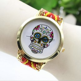 Wholesale Stainless Steel Braided Watches - 2016 New Brand Handmade Braided Human Skeleton Friendship Bracelet Watch Geneva Watch Ladies Quartz Watches 13 Colors