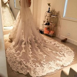 Wholesale Garment Accessories Lace - 2016 New Vintage Bridal Veils Tulle lace flower aveil bridal accessories one layer three Meters cathedral Long bridal Veils for wedding