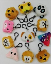 Wholesale Stuffed Dolls Monkey - 10 designs emoji monkey pig Key Chains Emoji Smiley Small Keychain Emotion Yellow Expression Stuffed Plush Doll Toy for Mobile Pendant D803