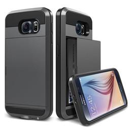 Wholesale Galaxy Note Credit Card Case - Wallet Case For Samsung Galaxy Note 3 4 5 Armor Slide Spacious Credit Card Case Luxury Slim Hybrid Wallet