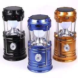 Wholesale Portable Lanterns - IN stock Solar lamps new Style Portable Outdoor LED Camping Lantern Solar lights Collapsible Lights Outdoor Camping Hiking Super Bright lamp