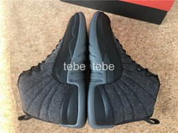 Wholesale High Sneakers Unisex - 2016 New Air Retro 12 Wool Black Nylon Basketball Shoes Men Women Sports Athletic Trainers Cheap Retro 12s OVO High Quality Sneakers