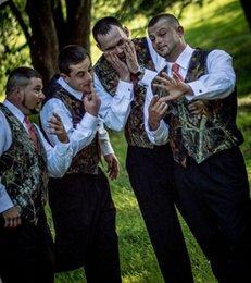 Wholesale 42 Suit Size - Custom Made Plus Size Realtree Camo Mens Vest with Four Buttons Tuxedo Vests for Men Suit Camouflage Mens Wedding Vest for Groom Groomsmen