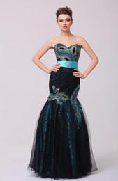 Wholesale Sequin Strapless Cocktail Dress - 2016 Black Evening Dresses Real Pictures Strapless Peacock Embroidery Beaded Lace Appliques Sleeveless Mermaid with Belt Prom Gowns