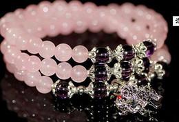 Wholesale Pink Buddha Bracelet - Natural crystal bracelet multi - storey Buddha beads hand string pink elephant ladies jewelry Korean multi - ling jewelry xx23