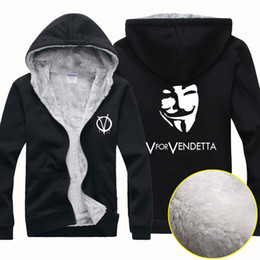 Wholesale Cheap Black Coat For Men - New Cheap Wholesale V For Vendetta Men Winter Sports Outerwear Coats Hoodies Wool Blends Jersey Cardigan Sweater Jacket