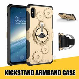 Cubierta de la caja de engranajes online-Funda Deportiva para iPhone XR XS MAX X 8 7 Plus Funda Gear Design Hybrid con Soporte para Kickstand para Samsung Note 9 S9