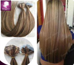 Wholesale Extension Glue Skin - Wholesale mix Color 100g lot Human Brazilian Remy Hair Tape Hair Glue Skin Weft Hair Extensions for black woman
