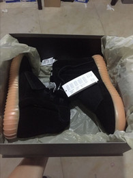 Wholesale Mens Glow Dark Shoes - 750 Boost Light black Glow in the dark 750 Kanye West Glow Dark Mens Shoes Boots Ankle Boots size 40-44