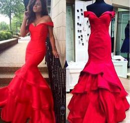 vestido coral ombre Rebajas Sirena roja vestidos de noche fuera del hombro Vestido largo de fiesta Ombre Vestidos de fiesta Faldas con gradas atractivas Vestido largo de la celebridad BA2322