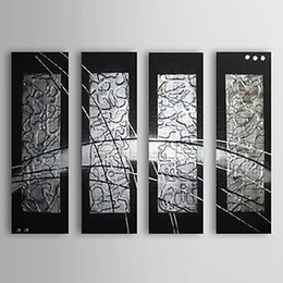 Wholesale Wall Decor Black Art Canvas - 4 Piece set 100%Hand Painted Thick black silver Oil Painting Wall Art Canvas Picture Home Decor Living Room decor ,CX4078