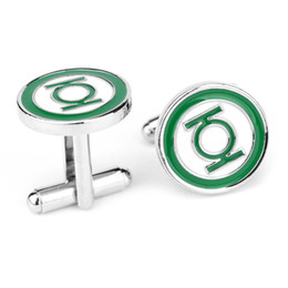 Wholesale Green Lantern Cuff Links - factory supplier wholesales Green Lantern cuff link with two colors enamal filled 5sets lot free shipping