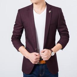Wholesale Korean Slim Men S Suit - Mens slim fit blazer high quality luxury suit jacket new korean fashion European red blazer Male casual jacket single breasted