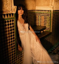 Wholesale Embroideried Sequin - sequin embroideried deep v neckline A-line bohemian wedding dresses 2018 liz martinez bridal chapel train wedding gowns
