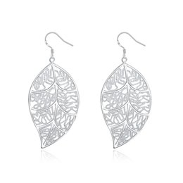 Wholesale Christmas Tree Cheap - Christmas Best Cheap 925 Silver Earrings Classic Tree Leaves Shape Silver Dangle Earrings Women's Jewelry e128