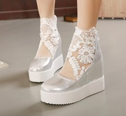 Wholesale Invisible Heels Shoes - Buld silk lace white silver wedge sandals high platform heels invisible height increased peep toe women shoes 3 colors size 35 to 39
