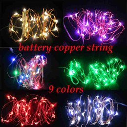 Wholesale Purple Color Rgb - Edison2011 2M 20led 3*AA Battery Powered Outdoor LED Silver Color Copper Wire Fairy String Lights For Christmas Holiday And Party