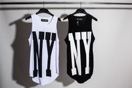 Nueva York NY Extended Tank Tops para hombre Urban chaleco de gran tamaño sin mangas de la camiseta 2017 verano Casual dobladillo curvo chaleco largo desde fabricantes