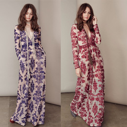 Wholesale Long Sleeve Love - HIGH QUALITY New Fashion 2016 Women's Long Sleeve Deep V Blue Embroidery Gauze For Love and Lemons Long Dress