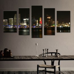 Wholesale Paintings Cityscapes - 5 Picture Combination Wall Art Canvas Print Night Skyline Cityscape On Canvas Print The Pictures For Home Modren Wall Decoration