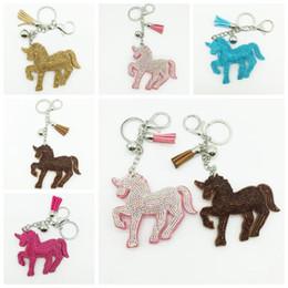 Wholesale Man Yellow Diamond Ring - 5 Colors 9*8cm Unicorn Pony Keychain Lovely Tassel Pendant Unicorn Diamond Key Chain Bag Car Key Ring Bag Accessories CCA7177 300pcs