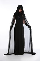 Wholesale Women Sexy Halloween Costumes Devil - Sexy witch stage with black demon Halloween costume witch under the night ghost game uniforms